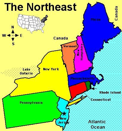 Map Of The Northeast Region Us Maps Northeast Region